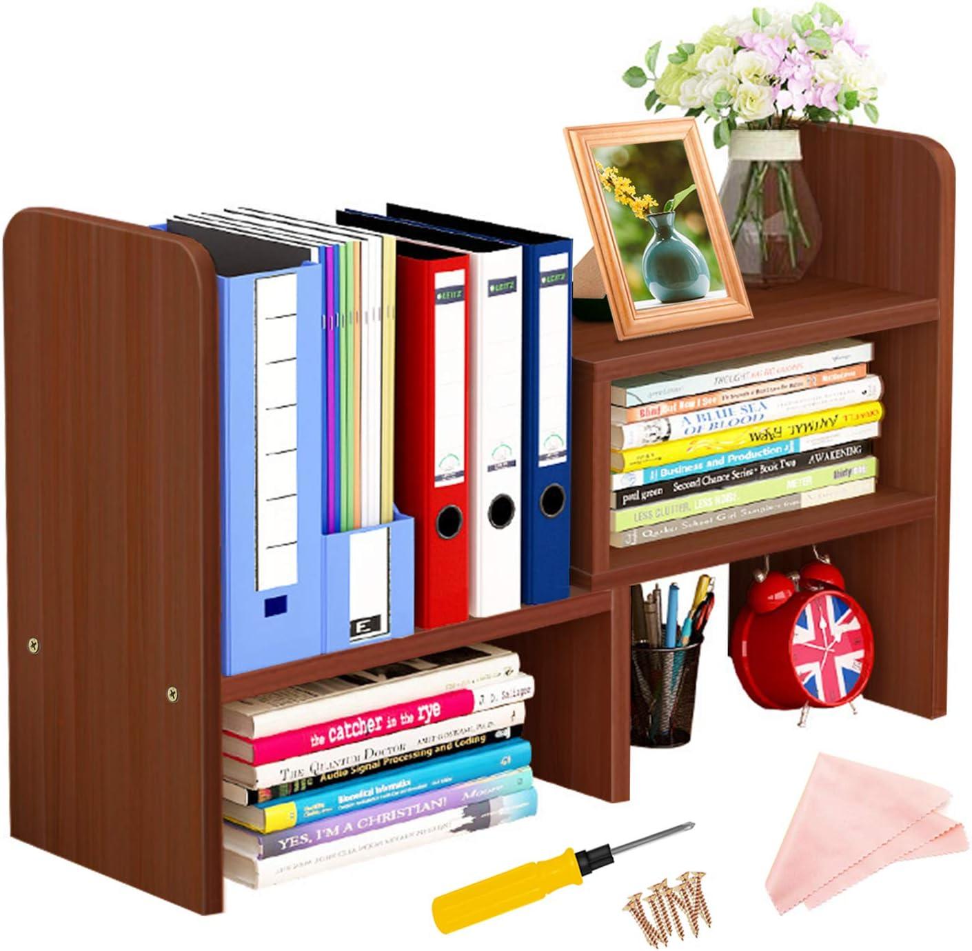 Desktop Bookshelf Adjustable Desktop Display Shelf Desk Storage Rack Wood Desk Organizer Multipurpose Bookshelf Large Office Countertop Bookcase Shelves for Office, Home Decor, Kitchen(Brown)