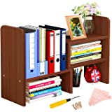 Desktop Bookshelf Adjustable Desktop Display Shelf Desk Storage Rack Wood Desk Organizer Multipurpose Bookshelf Large…