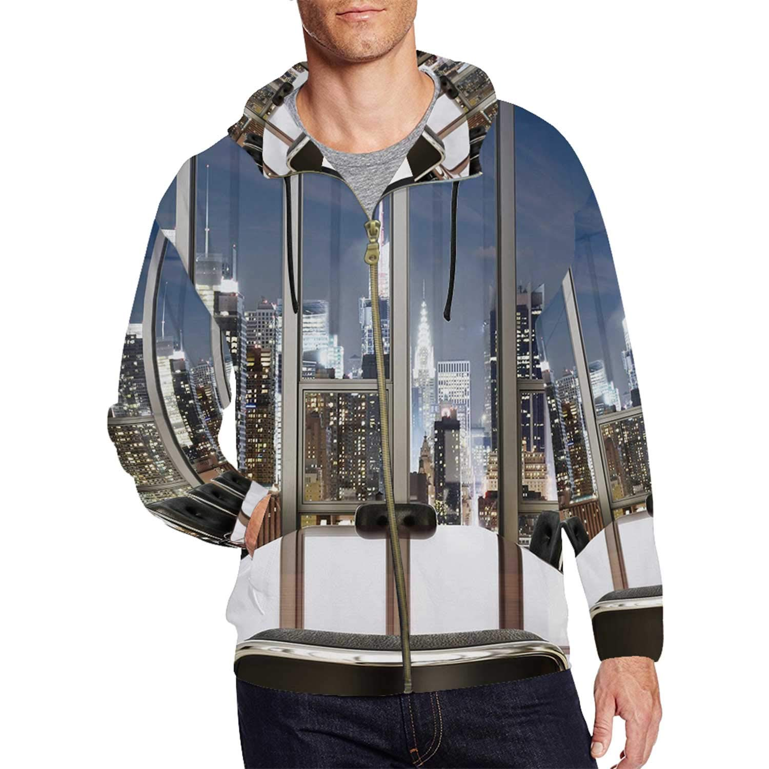 Modern Decor Simple Full Zip Hoodie for Outdoor,S,M,L,XL,XXL by C COABALLA