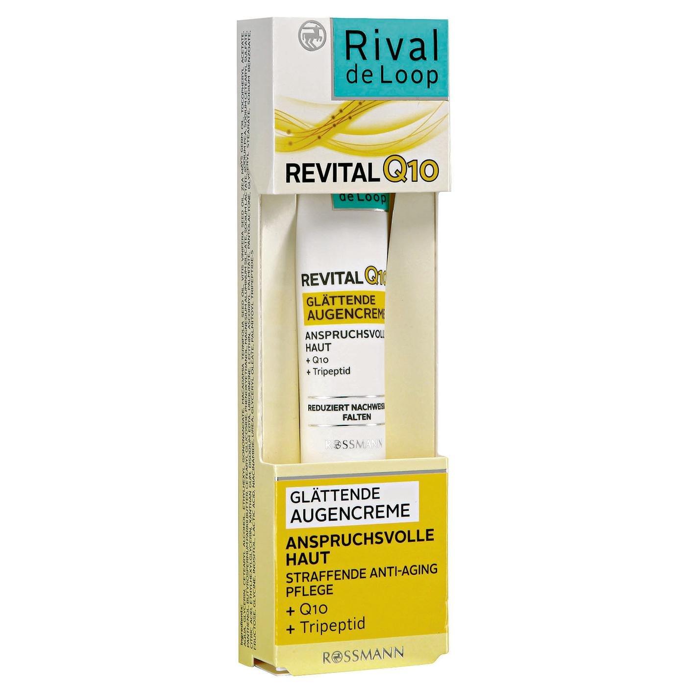 Rival de Loop revital Q10 glätt Extremo Ojo Crema 15 ml Piel para exigentes, straffende anti-edad cuidado, + Q10, + tripeptid, Vegano): Amazon.es: Salud y ...