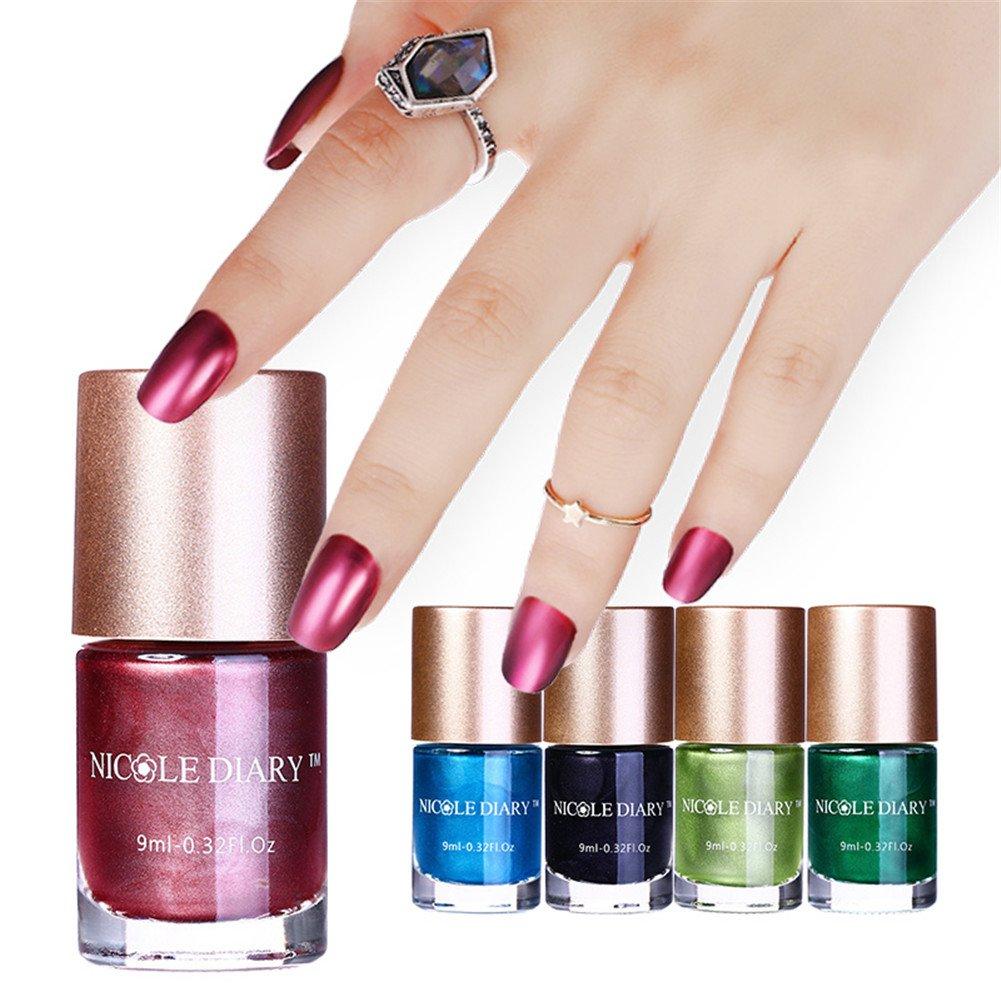 Amazon.com : NICOLE DIARY 5 Bottles Metallic Nail Polish Mirror ...