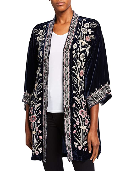 Vintage Coats & Jackets | Retro Coats and Jackets JWLA By Johnny Was Womens Velvet Embroidered Kimono Cardigan $315.68 AT vintagedancer.com