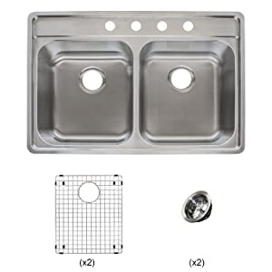 "Franke Evolution All-in-One 33 Wide 9-inch Deep Top Mount 4-Hole Double Bowl Stainless Steel Kitchen Sink Kit, EVDCG904-18KIT, Left-to-Right x 22"" Front-to-Back x 9"" D"