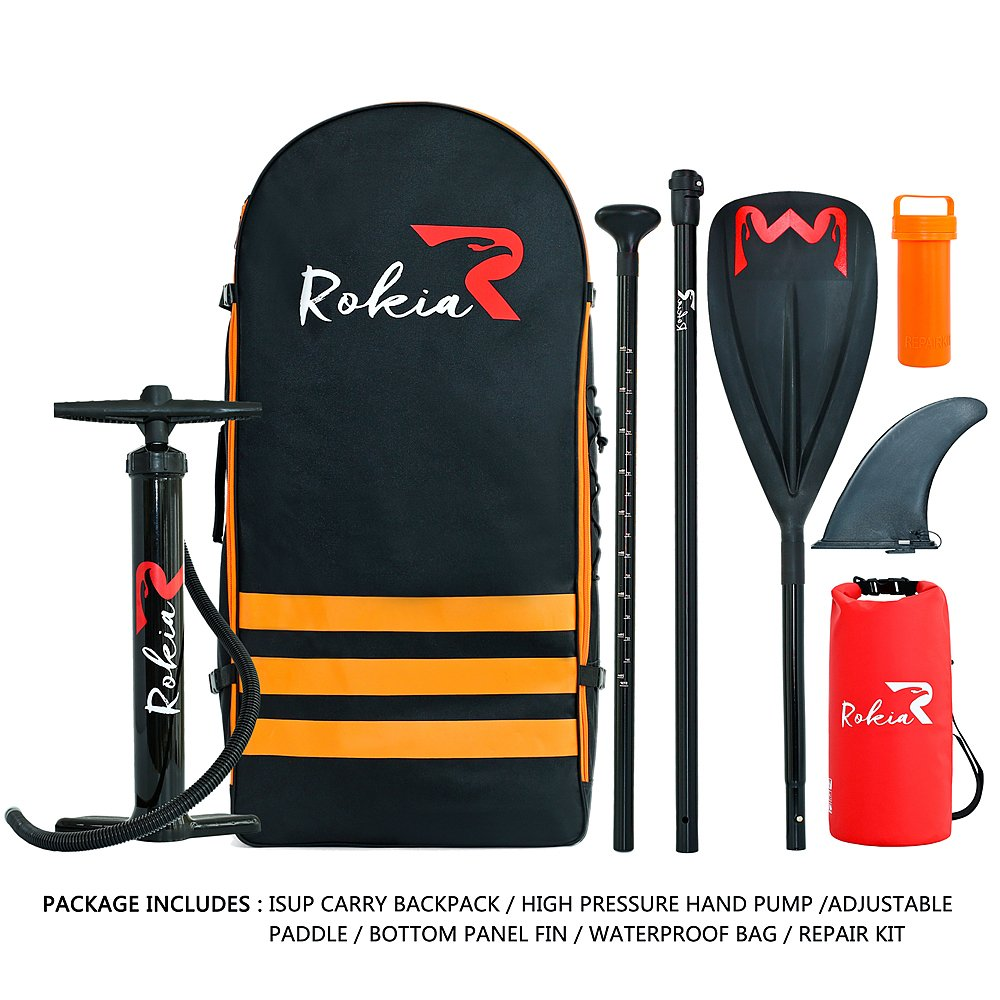 Rokia R Inflatable Stand Up Paddleboard 11 Feet Premium SUP for All Skill Levels 6 Inches Thick