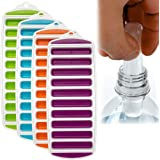 4 Pack Water Bottle Ice Cube Trays Pop-Out Silicone Make 40 Frozen Cylinder Sticks