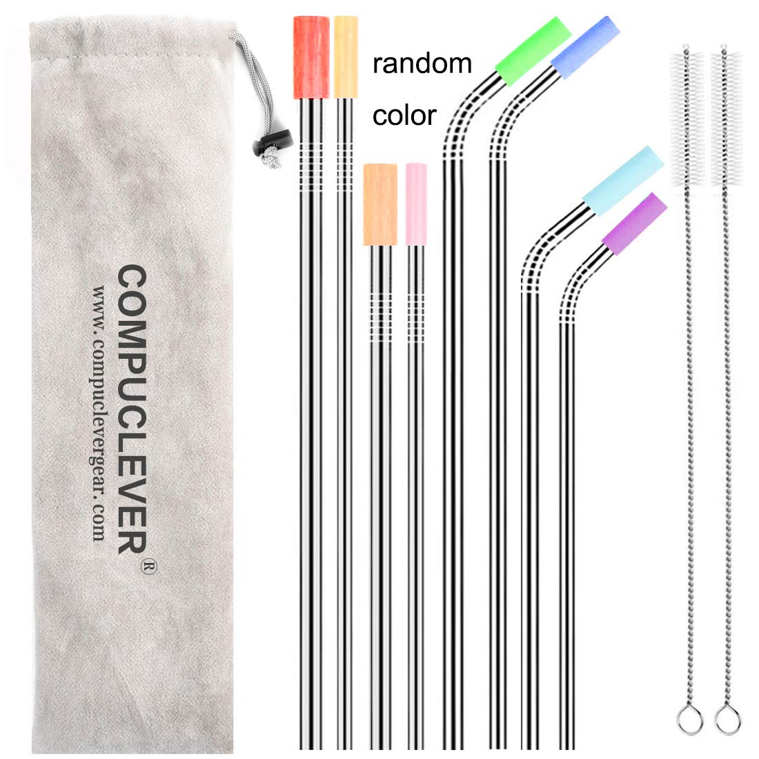 Stainless Steel Straws Set of 8 Reusable Drinking Straws for 30oz 20oz Tumbler 10.5'' 8.5'' Diameter 0.24'' 0.31'' with 8 Silicone Tips 2 Cleaning Brushes and Pouch(4 Bent 4 Straight) (8.5'' 10.5'')