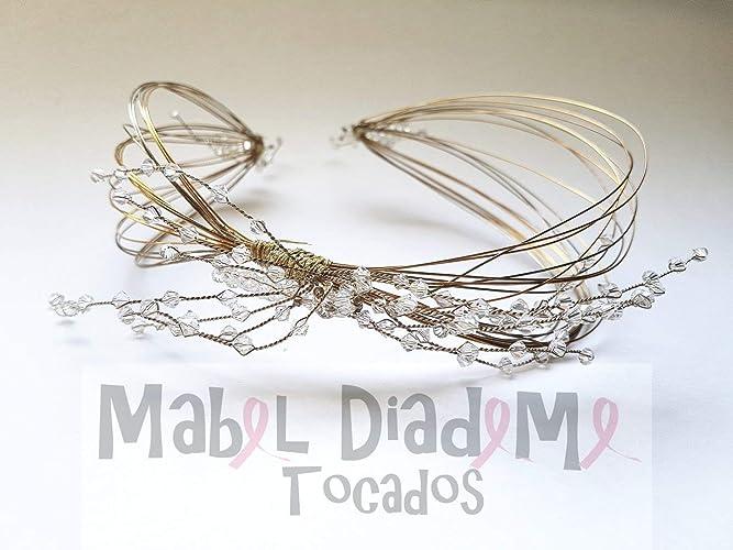 ec3a597b4 Mabel Diademe Tocado diadema corona novia madrina invitada comunión  festival bodas eventos glamour evento dia noche