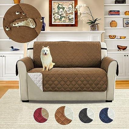 Pawaca - Funda de sofá reversible de doble cara para muebles acolchados, asiento individual impermeable, antideslizante, funda de protección para ...