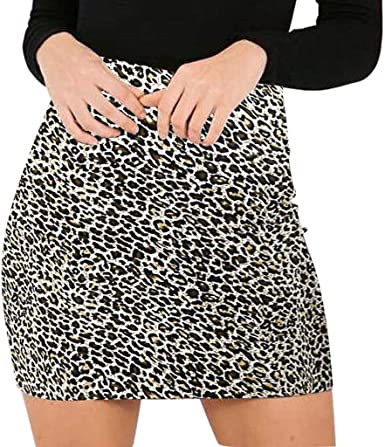 SUCCESS - Falda para Mujer con Estampado de Leopardo de Cintura ...