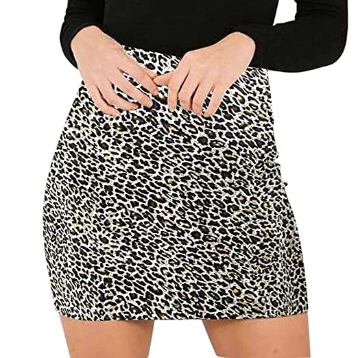 Goosun Falda de Leopardo para Mujer, con Cintura Alta, con ...
