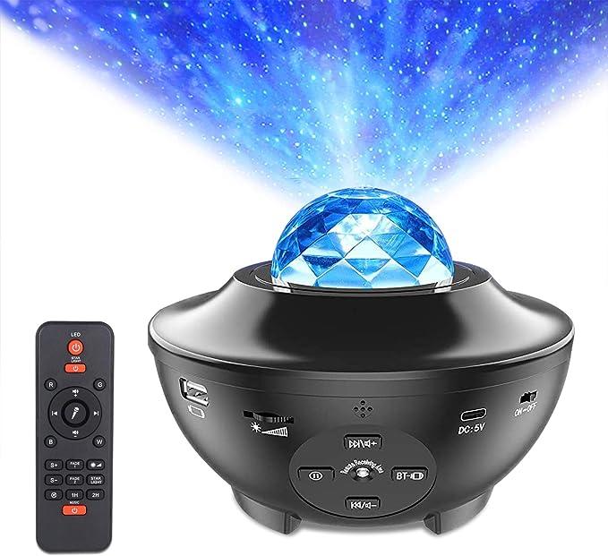 Star Projector Night Light, LUXONIC Ocean Wave LED Starry Night Light Projector Built-in Bluetooth Speaker Sound Sensor Projector Lamp for Baby Kids Children Bedroom, Home Decoration, Christmas