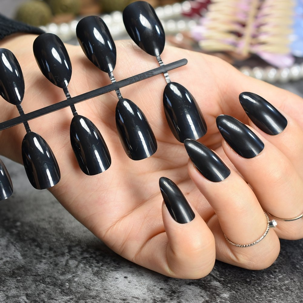 EchiQ - Clavos falsos de color negro y ovalado, punta ...