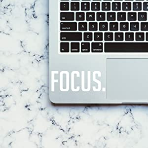 """Vinyl Wall Art Decal - Focus. - 2"""" x 5"""" - Laptop Skin Motivational Decal - Small Removable Waterproof Stencil Adhesive for Home Office Mirror Window Car Bumper Sticker (2"""" x 5"""", White Text)"""