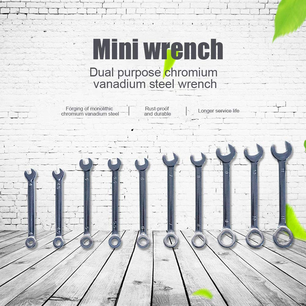 Tiakino Wrench 10Pcs//Set Professional Mini Combination Spanner Set 4-11mm Metric Small for Home