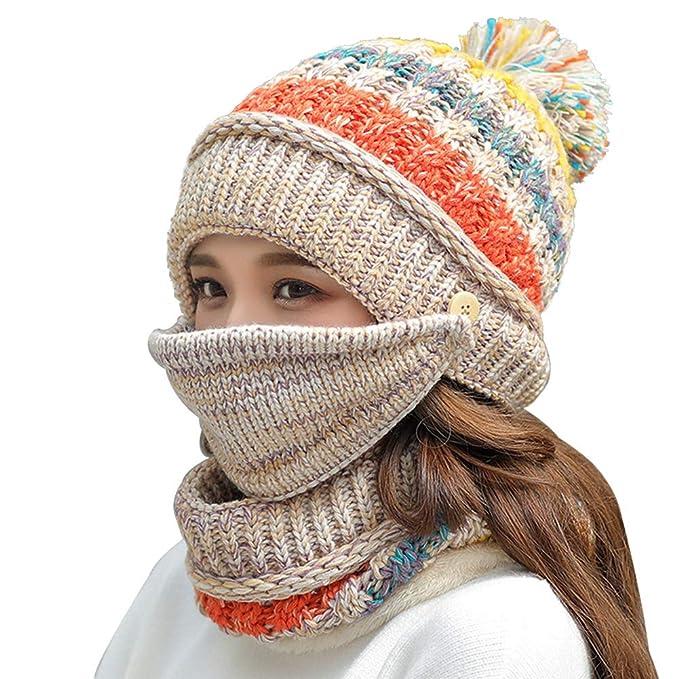 01f40e6efc6 Fleece Lined Women Knit Beanie Scarf Mouth Mask Set for Girl Winter Ski Hat  with Pompom