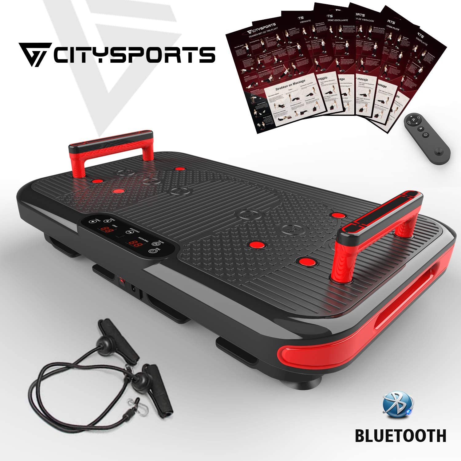 2 Integrated Handles 50 Adjustable Speeds CITYSPORTS Fitness Vibrating Plate CS-600 Bluetooth Vibrating Platform 3 Vibration Modes with Posture and Professional Use Guide