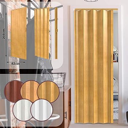 Porta a Soffietto da Interno - a Doppia Parete, 203 x 82 cm, in PVC,  Chiusura Magnetica, Colore a Scelta - Porta Scorrevole, a Scomparsa