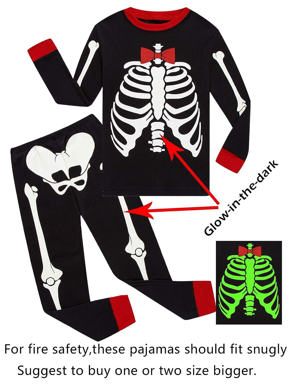 Boys Halloween Pajamas Sets Skeleton Pjs PJS-GITD/GT2
