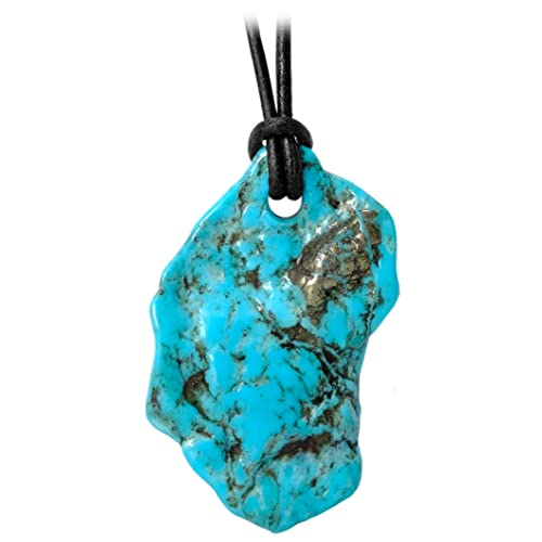 Kaltner Präsente gift idea, leather necklace for women and men with free form pendant of natural stone, natural turquoise (dimensions approximately 40 mm x 30 mm x 5 mm)