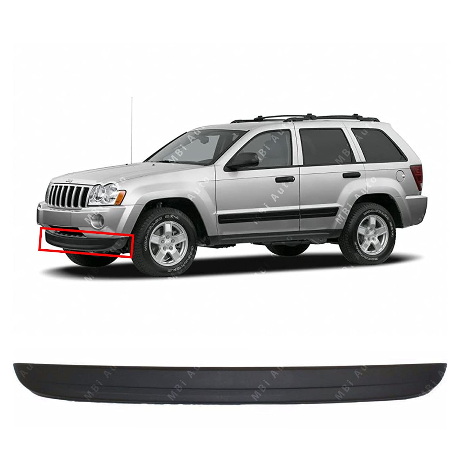 Textured Black Front Bumper Lower Air Deflector for 2005 2006 2007 Jeep Grand Cherokee 05 06 07 CH1090130 MBI AUTO