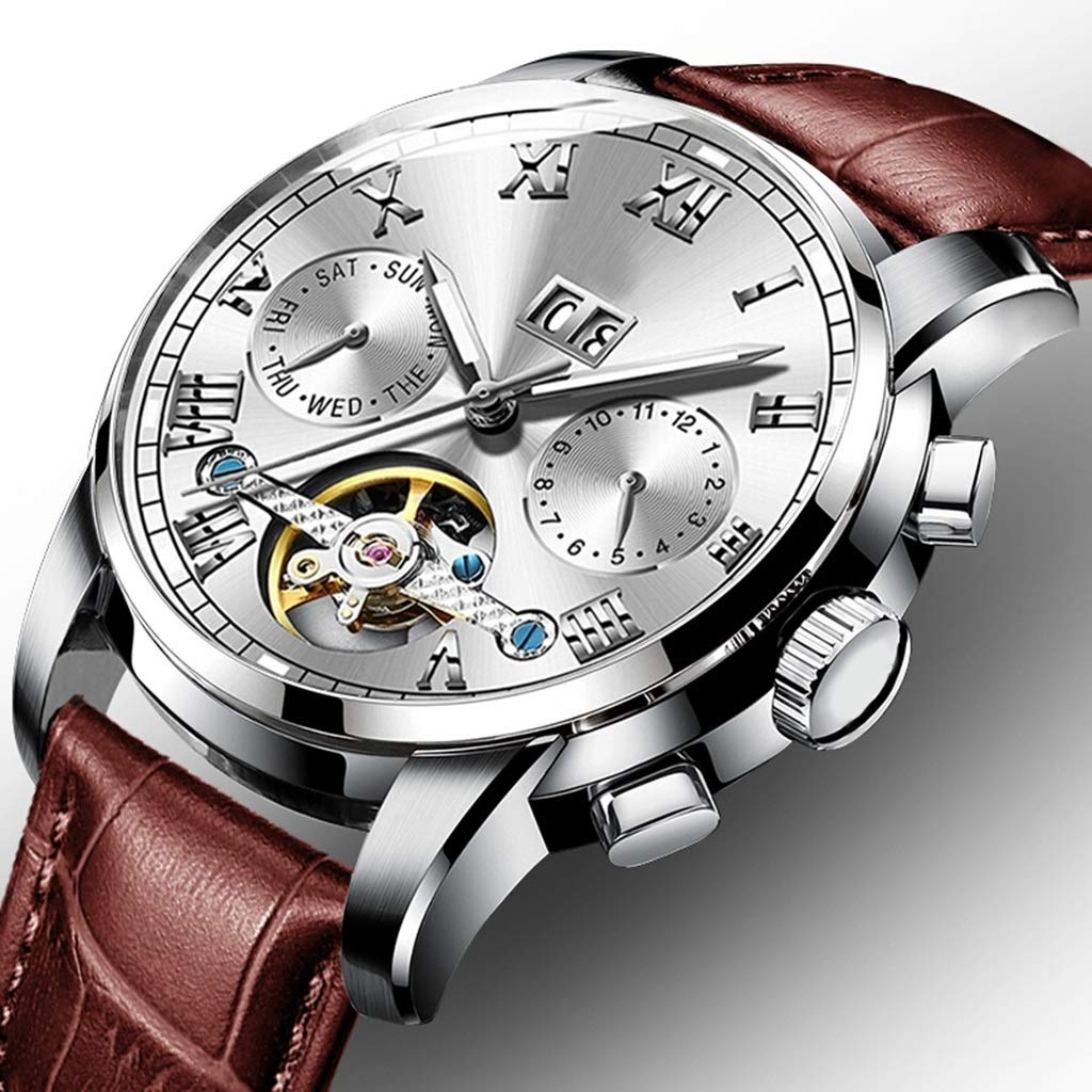 Wyx Mekanisk klocka för män, ihålig vattentät rostfritt stål lysande lyxig affärs dubbel kalender WTR a