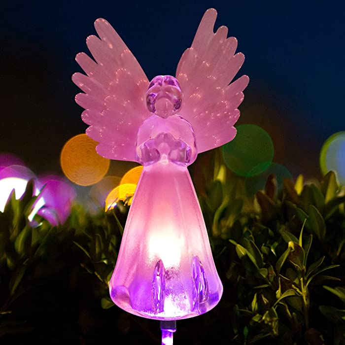 Angel lamp Solar Garden Decorations Garden Lights Solar Powered Mothers Day Garden Gifts Garden Angel Grave Markers for Cemetery for Humans Garden Decoration Angel Light