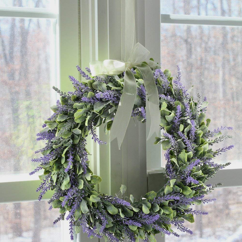 Evoio Artificial Lavender, 17'' Wreath DIY Silk Flowers Garland Pendant for Front Door Wall Home Wedding Decoration- purple by Evoio (Image #4)