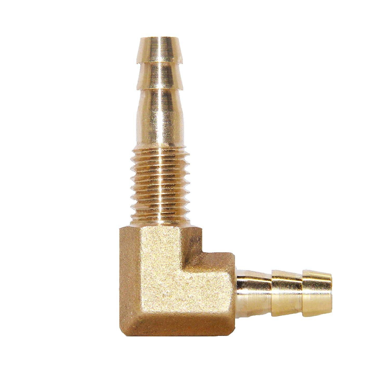 Joyway 1//4ID Hose Barb Thru-Bulk Head Hex 90 Degree L Right Angle Elbow Union Brass Fitting Water//Fuel//Air