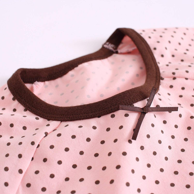 Dot Nightgowns for Girls Cotton Pajamas Summer Girls Sleepwear Dress Kids Nightdress Clothing Home Wear Clothes 2Pcs//Lot