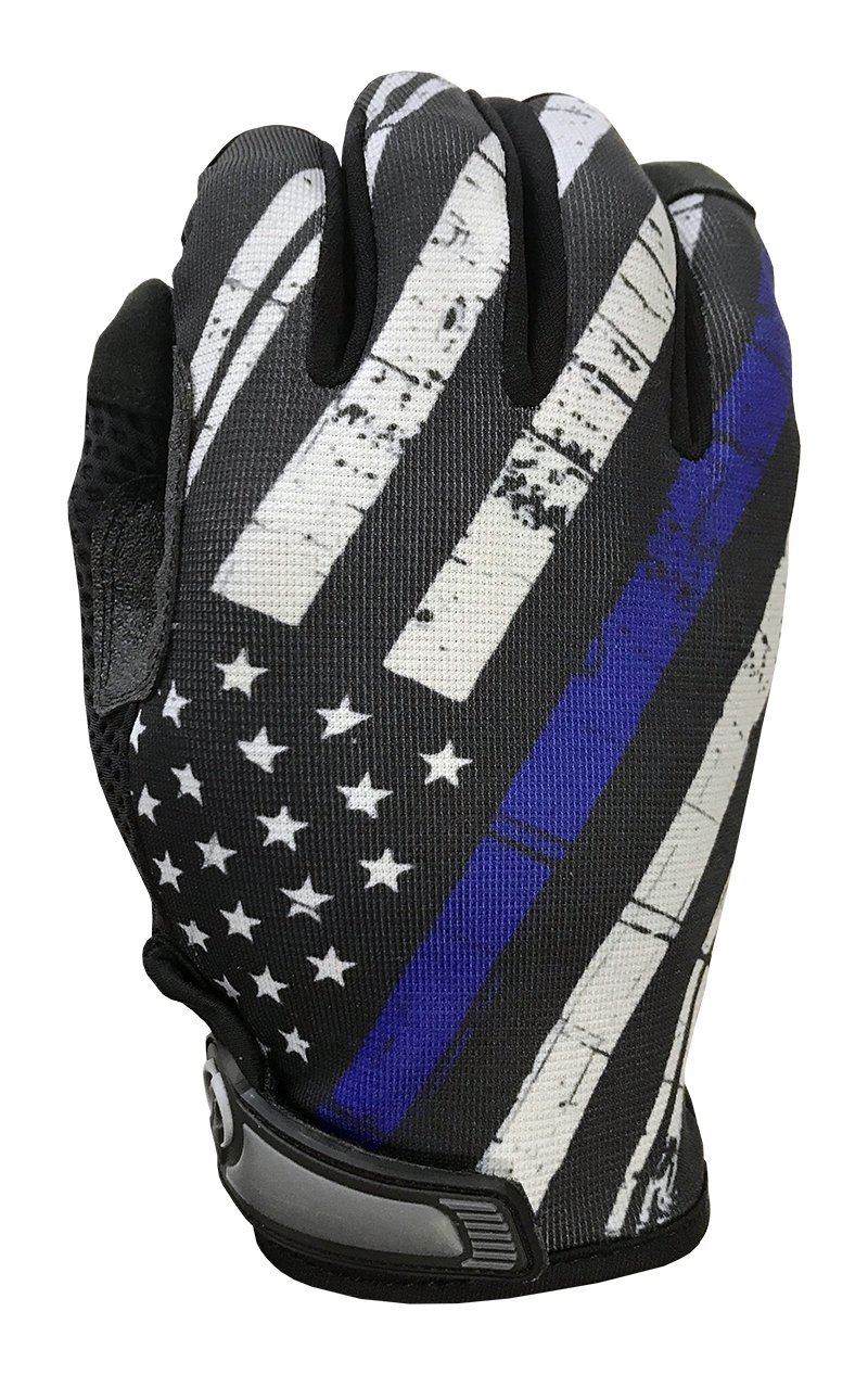 Blue Line USA Flag Gloves for Gym, Athletic, and Multi-Use - Support Police & Law Enforcement Officers