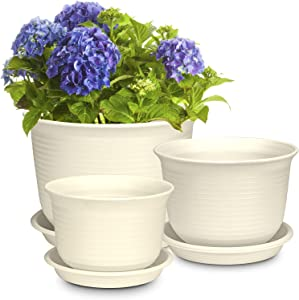Plastic Plant Pots, Rifny 6 7 8 Inch Round Flower Pots with Drainage Holes and Tray, Set of 3 Plant Containers for Indoor Outdoor Garden Plants Flowers (Beige)