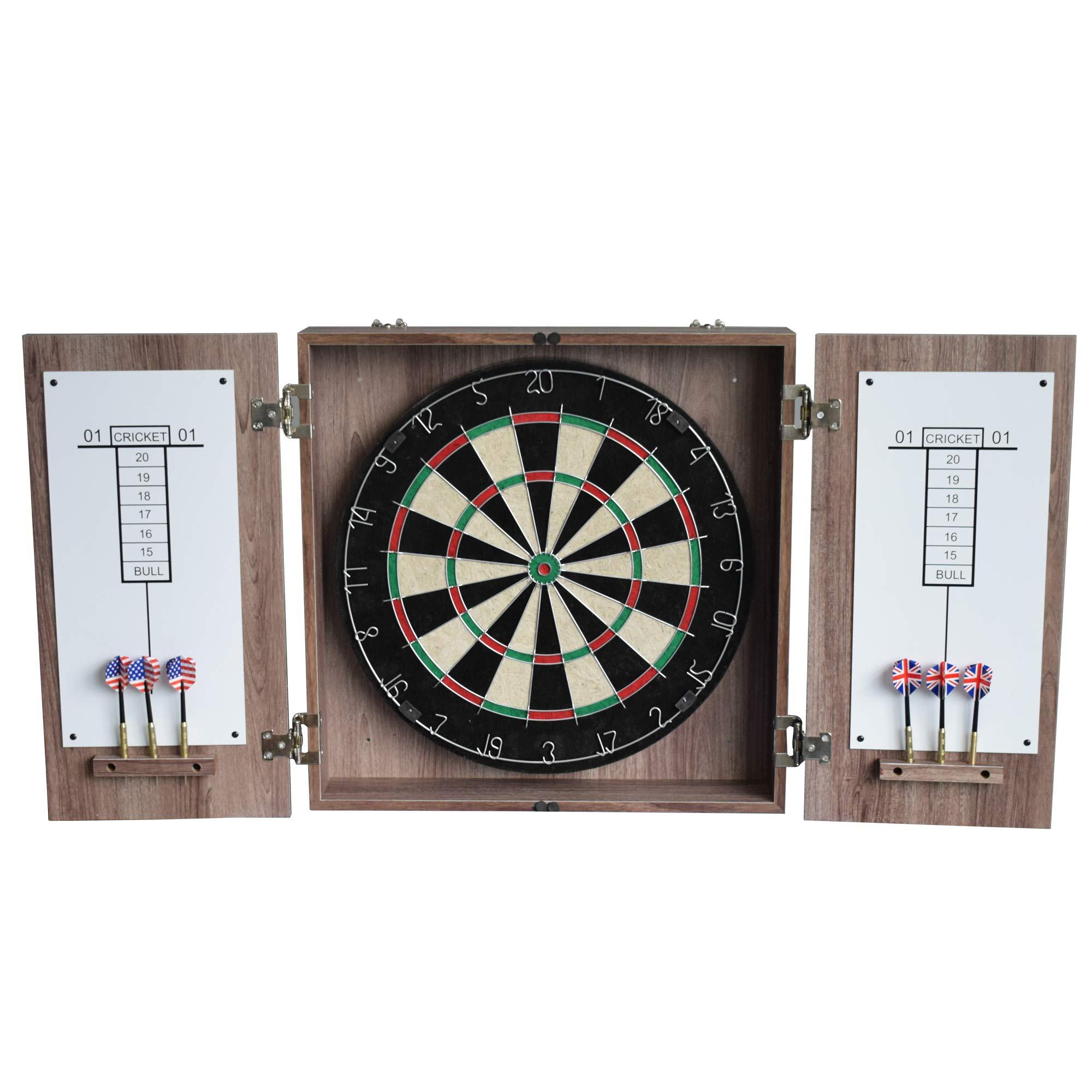 HATHAWAY Winchester Dartboard & Cabinet Set, Driftwood, 3.75'' L x 19.75'' W x 19.75'' H, Black