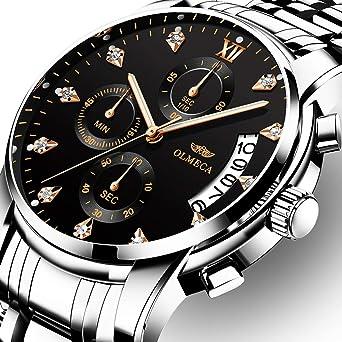 OLMECA Mens Watches Luxury Rhinestone Wristwatches Waterproof Fashion Quartz Watches Men Watch Stainless Steel
