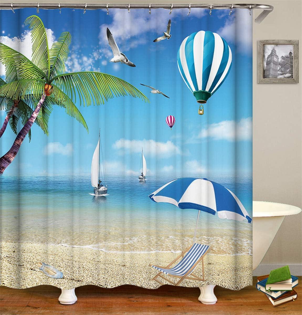 Moderne 3D Stampato Poliestere Resistente Tessuto Lavabile Tenda della Vasca da Bagno con 12 Ganci Fansu Tende da Doccia Antimuffa Impermeabile 90x180cm,Spiaggia dellOceano A