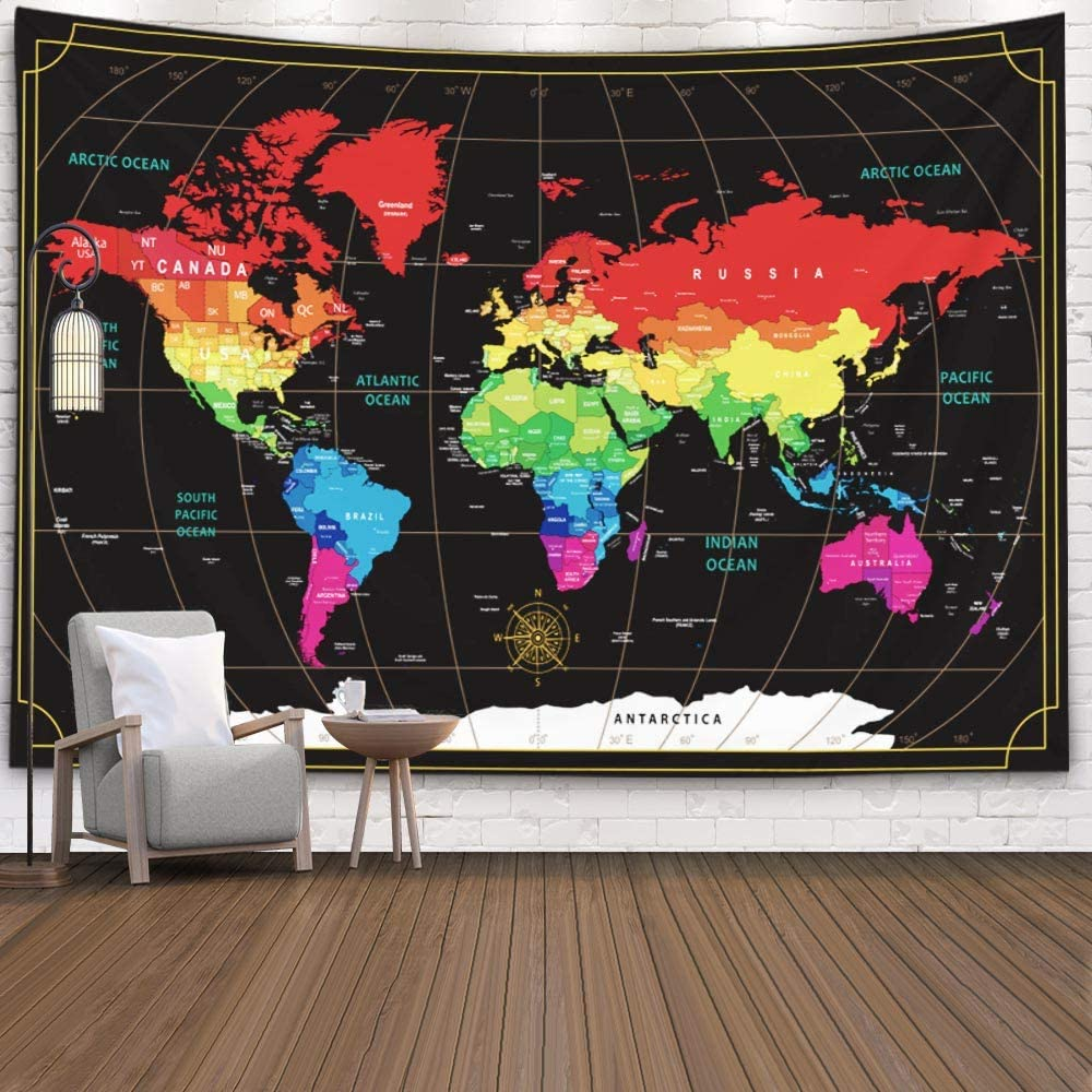 Wall Art World Map,Capsceoll Giant Hanging Map Map Hanging Wall Decor Map Tapestry Wall Hanging Large Travel Map New World Map Colorful Wall Art Map Decor 60X50 Inches,Black Red
