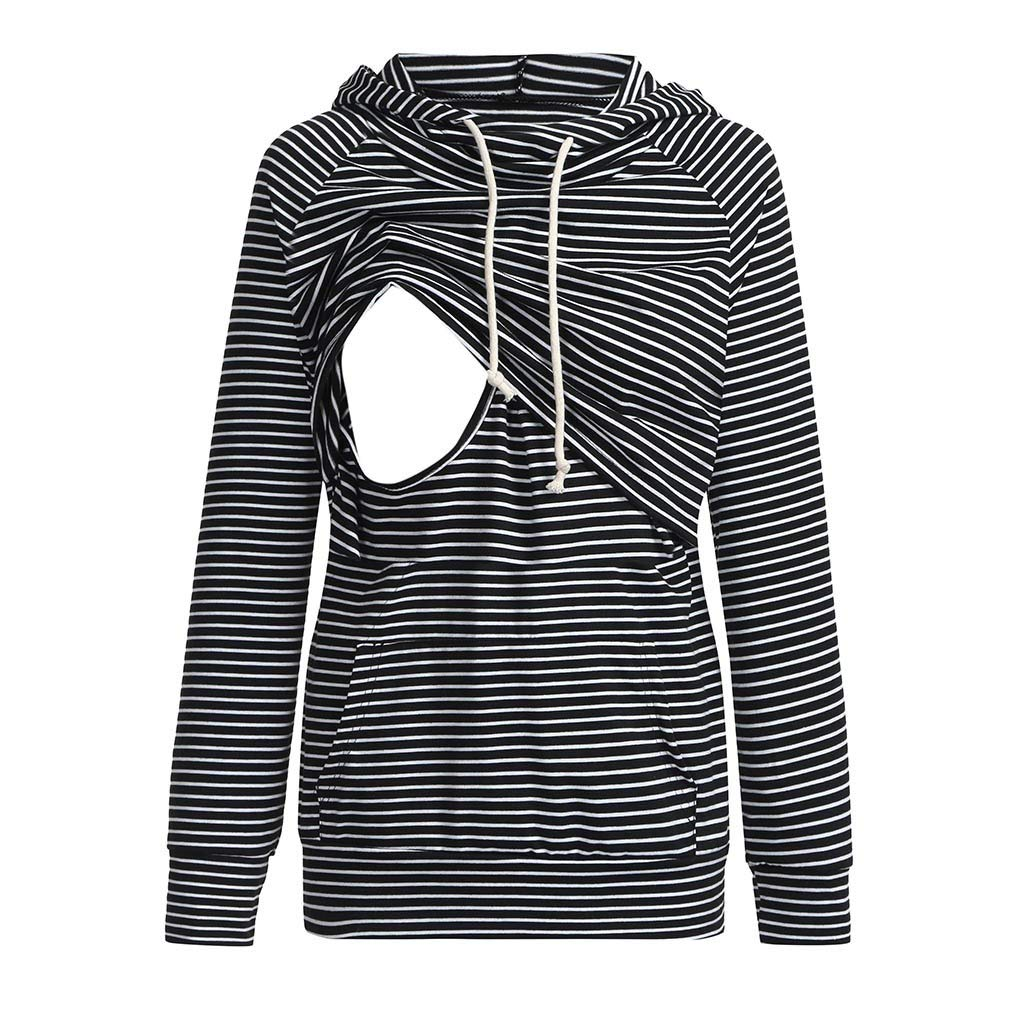 Banstore Women Nursing Maternity Long Stripe Breastfeeding Hoodie Sweatshirts Banstore Maternity