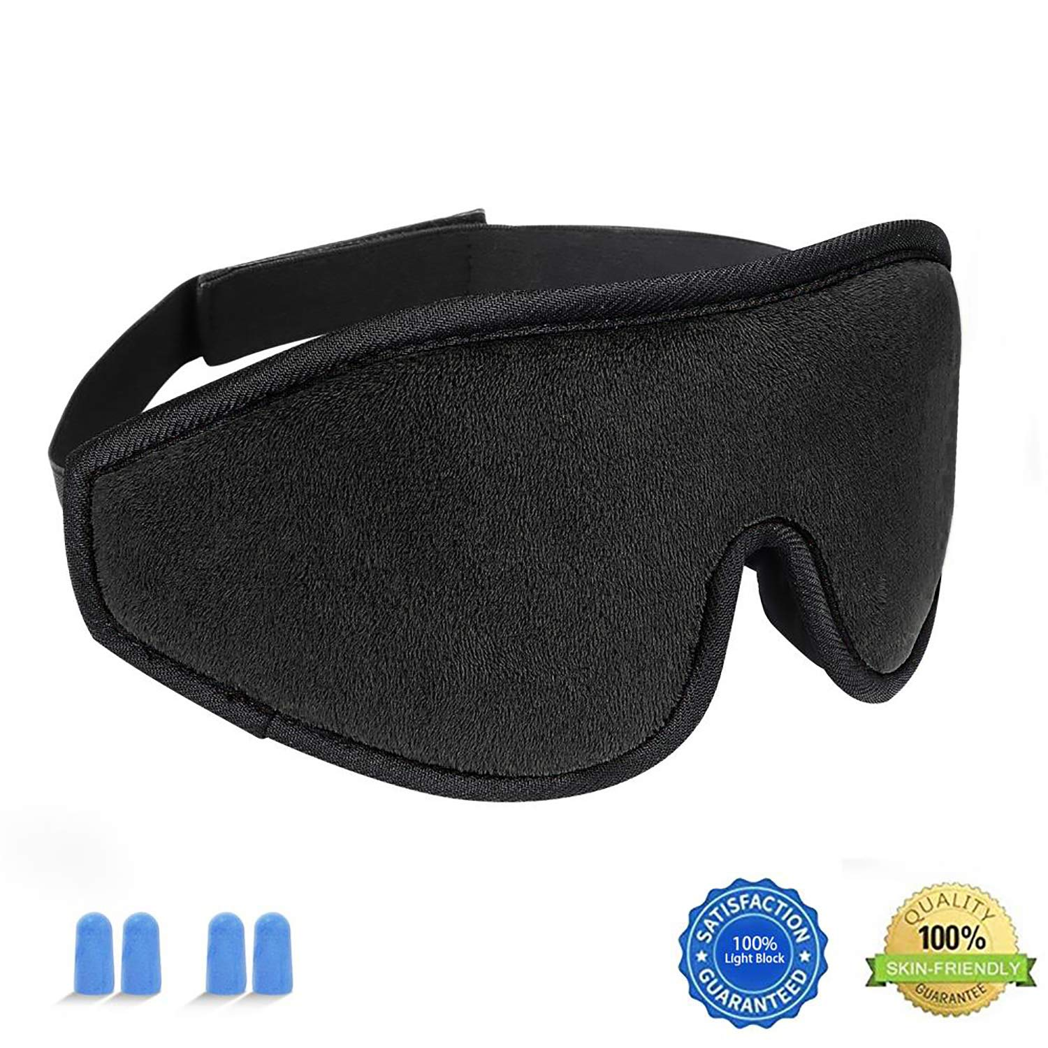 Sleep Mask For Women And Men, HYOUCHANG Upgraded [Super Soft Smooth Cotton] Lightweight 3D Eye Sleeping Mask Eye Cover [100% Light Blcok] Blindfold for Night Sleeping, Travel, Nap, Shift Works (Black)