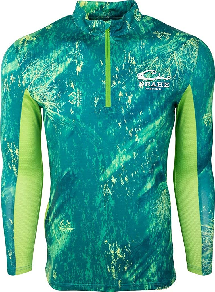 DRAKE PERFORMANCE FISHING Shield 4 Arched Mesh Back 1//4 Zip