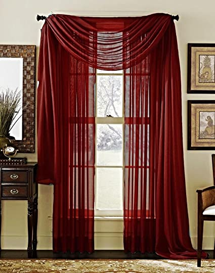 3 Piece Solid Wine Burgundy Sheer Viole Curtains Panel Set Fully Stitched 2 Window Panels
