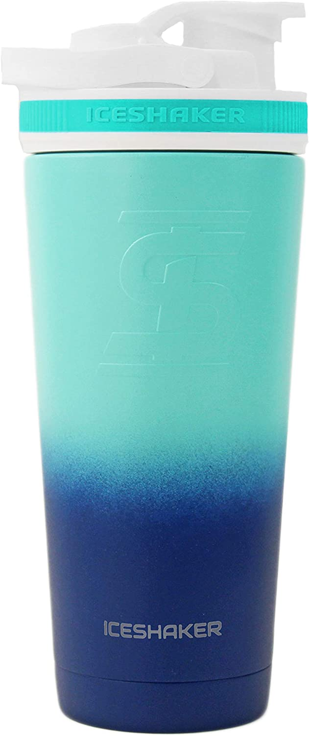 Ice Shaker Stainless Steel Insulated Water Bottle Protein Mixing Cup (As seen on Shark Tank) | Gronk Shaker | 26 Oz (Mint & Navy)