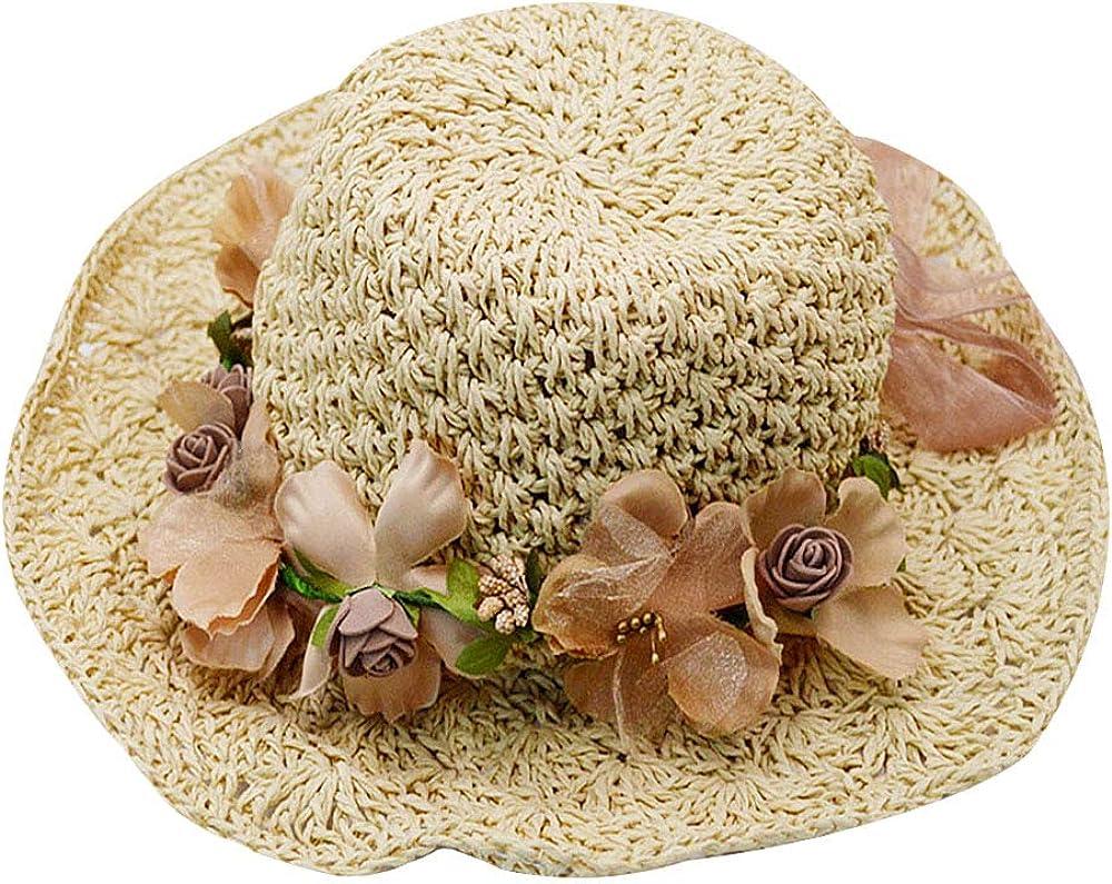 Adela Boutique Womens Foldable Wide Brim Roll-up Crocheted Straw Hat Beach Sun Visor Cap UPF 50+