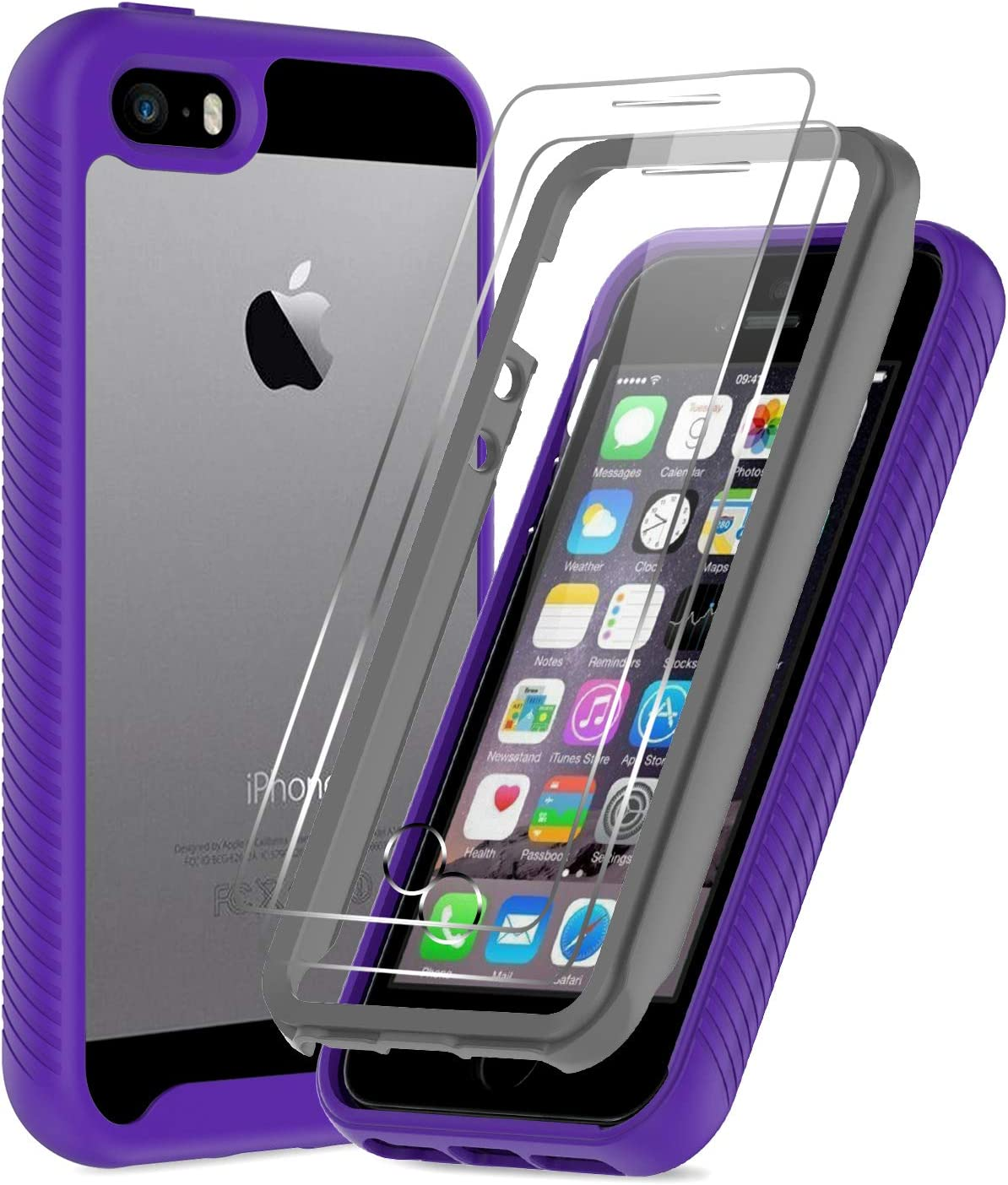 LeYi iPhone SE Case (2016), iPhone 5 Case, iPhone 5s Case with 2 Tempered Glass Screen Protector, Full-Body Shockproof Rugged Hybrid Bumper Clear Protective Phone Cover Cases for iPhone 5s/5, Purple