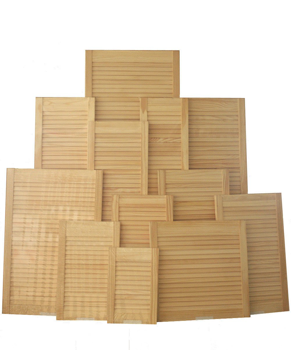 Savoy Timber Single Louvre doors clear pine knot free slatted cupboard + Free Hinges & Screws (18'x12') Masons