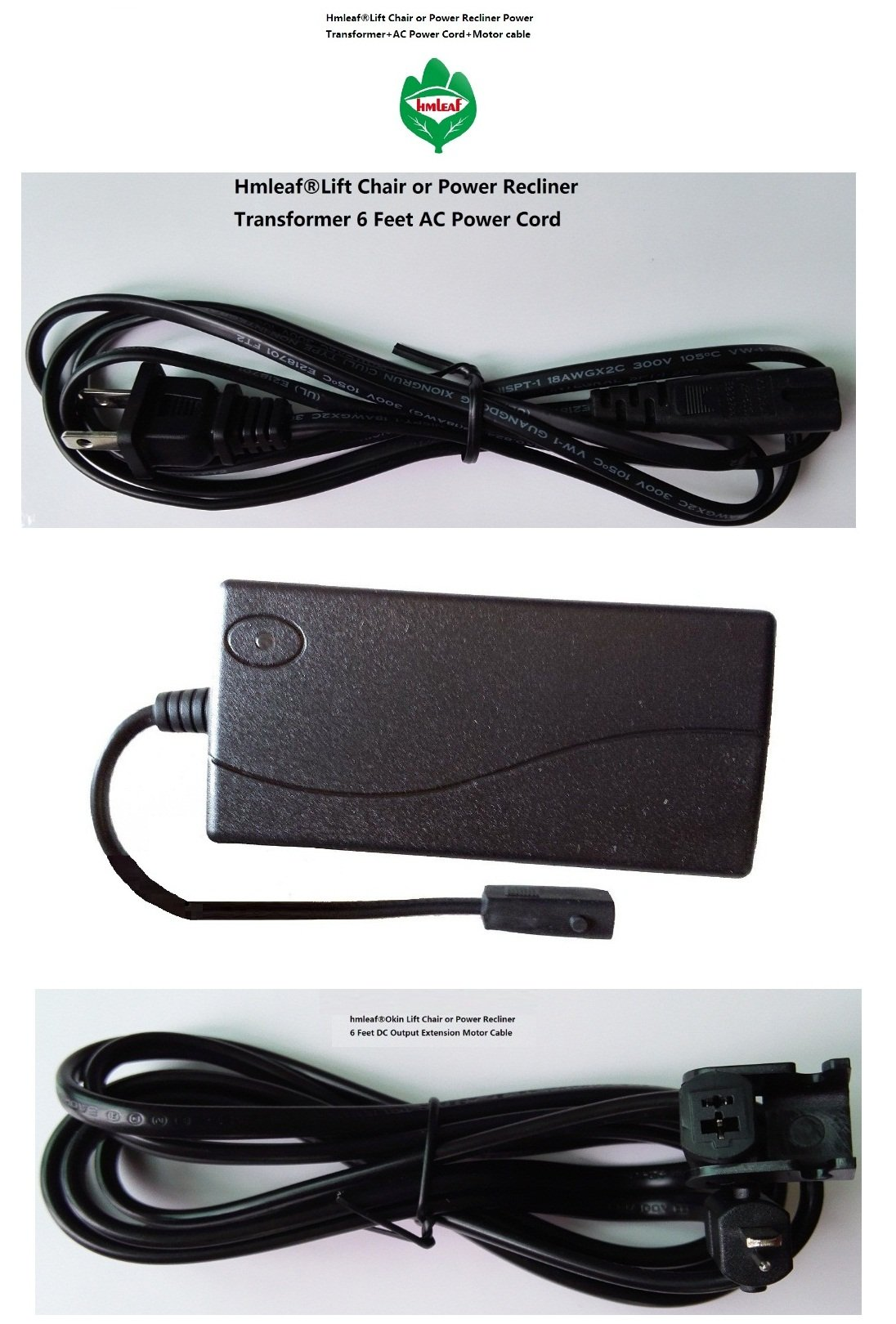 Hmleaf Lift Chair or Power Recliner Power Supply Transformer 29V 2A+6 feet Power cord+Motor Cable