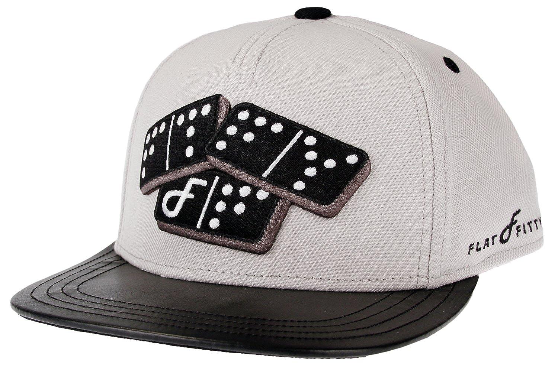 Grey Black Flat Fitty Domino Strapback Cap Hat One Size