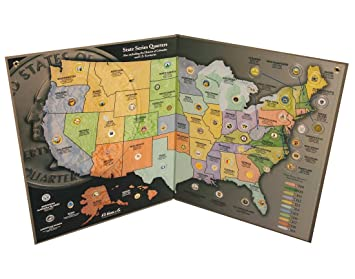 Amazoncom State Quarter Map Us State Quarter Collection Toys - Us map for collecting quarters