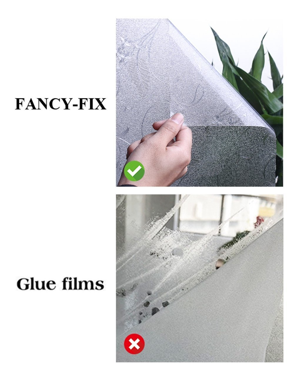 FancyFix Privacy Window Film PVC Flower Pattern Matte Frosted Static Cling Non Adhesive Window Film for Home Bathroom Living Room Office Kitchen 35.4in x 78.7in