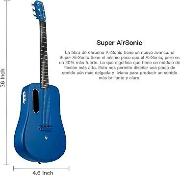 LAVA ME 2 Guitarra de fibra de carbon con efectos Guitarra Acústica Eléctrica de Viaje con bolsa Picks y Cable de carga (FreeBoost, Azul, 36 Inch): Amazon.es: Instrumentos musicales