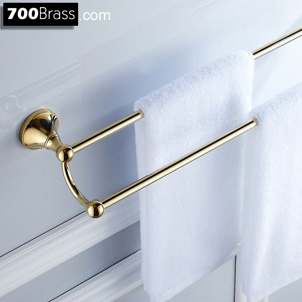 700Brass 24 Inch Double Towel Bar Design for Hotel/Motel/Home, Solid Brass, Polished Gold, Wall Mounted, Bathroom/Kitchen Hardware