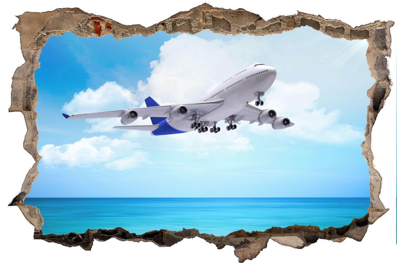 Flugzeug Jet über Meer Airline Wandtattoo Wandsticker Wandaufkleber D0447 Größe 120 cm x 180 cm